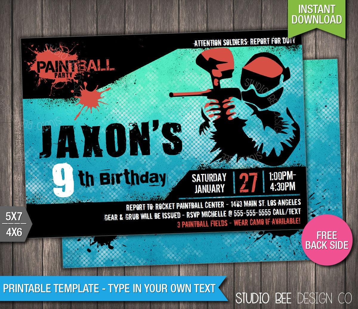 paintball invitation instant download printable paintball