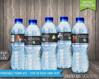The Little Mermaid Water Bottle Labels - INSTANT DOWNLOAD - Printable Wrappers - Fits Avery Wraparound - DIY Personalize & Print (LMwb01)