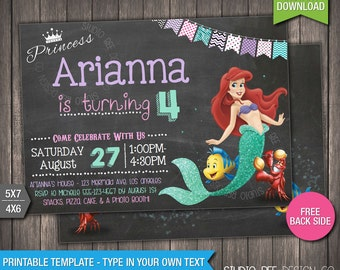 85% OFF - The Little Mermaid Invitation - INSTANT DOWNLOAD - Printable Little Mermaid Birthday Invite - DiY Personalize & Print - (LMin01)