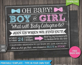Gender Reveal Party Invitation - INSTANT DOWNLOAD - Printable Gender Reveal Invite - Chalkboard - DIY Personalize & Print (BGin02)