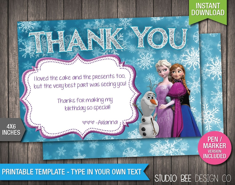 f71c25cc Frozen Thank You Card INSTANT DOWNLOAD Printable Disney | Etsy