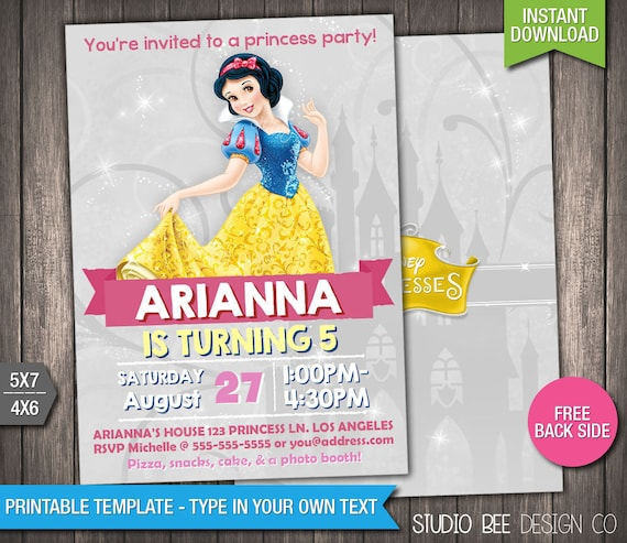 graphic regarding Snow White Invitations Printable named Disney Princess Snow White Invitation - Prompt Obtain - Printable Snow White Birthday Invite - Do-it-yourself Customize Print - (PRin05)