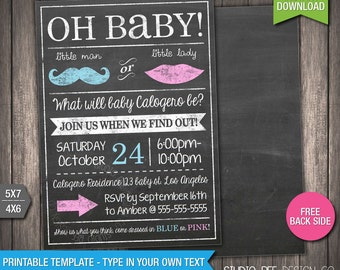 Gender Reveal Party Invitation - INSTANT DOWNLOAD - Printable Gender Reveal Invite - Chalkboard - DIY Personalize & Print (BGin01)