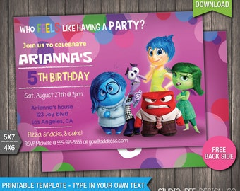 Inside Out Invitation - INSTANT DOWNLOAD - Printable Disney Pixar Inside Out Movie Birthday Invite - DIY Personalize & Print - (IOin04)