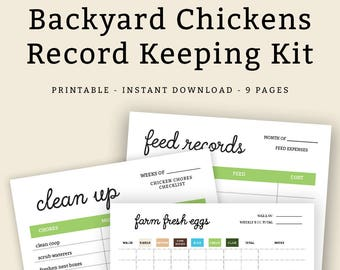 Backyard Chickens Record Keeping Kit   Printable Kit