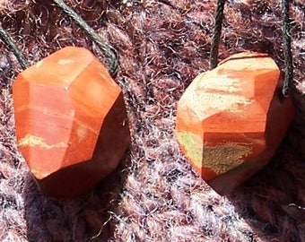 Handmade faceted RED JASPER pendant