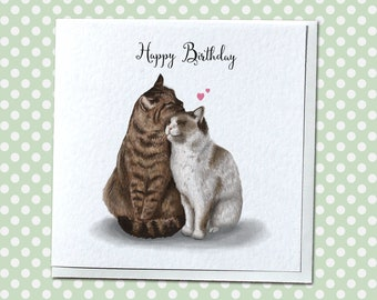 Two Cats Cute Birthday Card