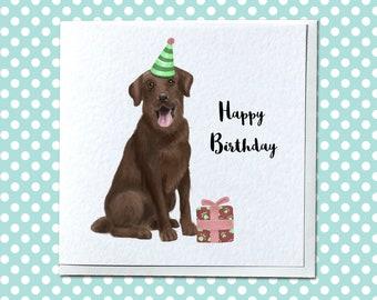 Personalised Chocolate Labrador Birthday Card