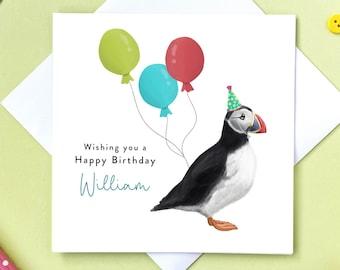 Personalised Puffin Birthday Card | For Dad, Mum, Friend, Grandma, Granny, Son, Grandson, Husband, Wife | REF: B033