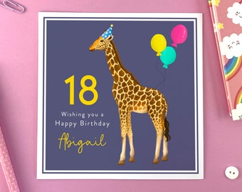 Personalised Giraffe Birthday Card for Her   Daughter, Granddaughter, Niece, Sister, Friend, Teenager   16th, 18th, 21st   REF: B013