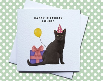 Personalised Black Cat Birthday Card