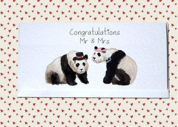 Riesen Panda Hochzeit Gluckwunsch Karte Herr Und Frau Herr Etsy