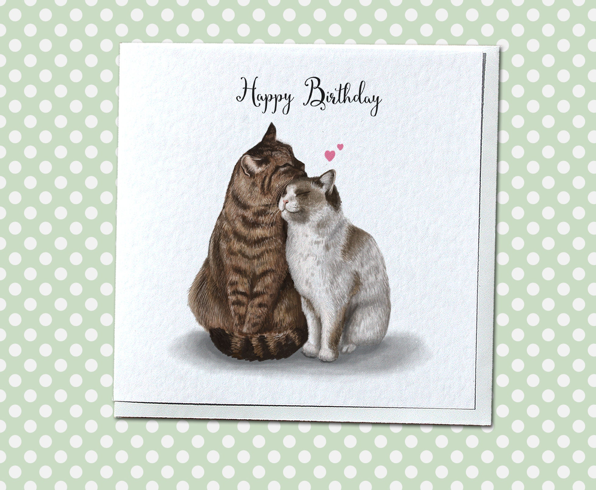 Two Cats Cute Birthday Card Cat Lovers