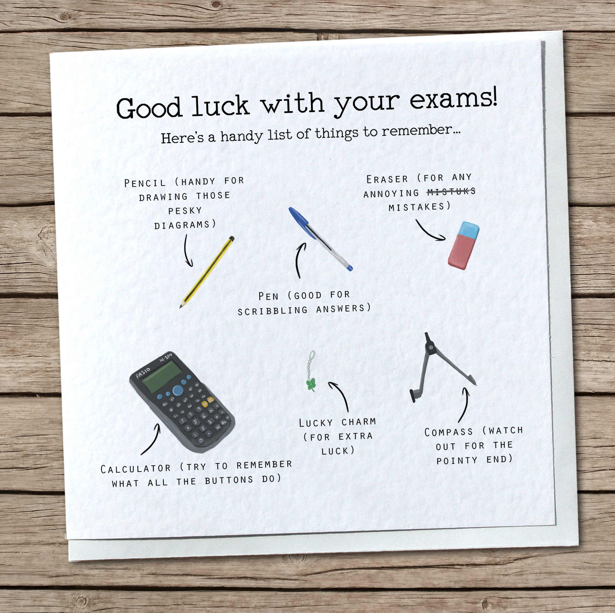 Exam List Greetings Card Good Luck With Exams Cute Cool Etsy
