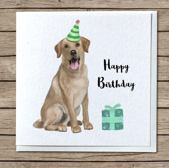 Golden Labrador Birthday Handmade Greetings Card Personalise Etsy