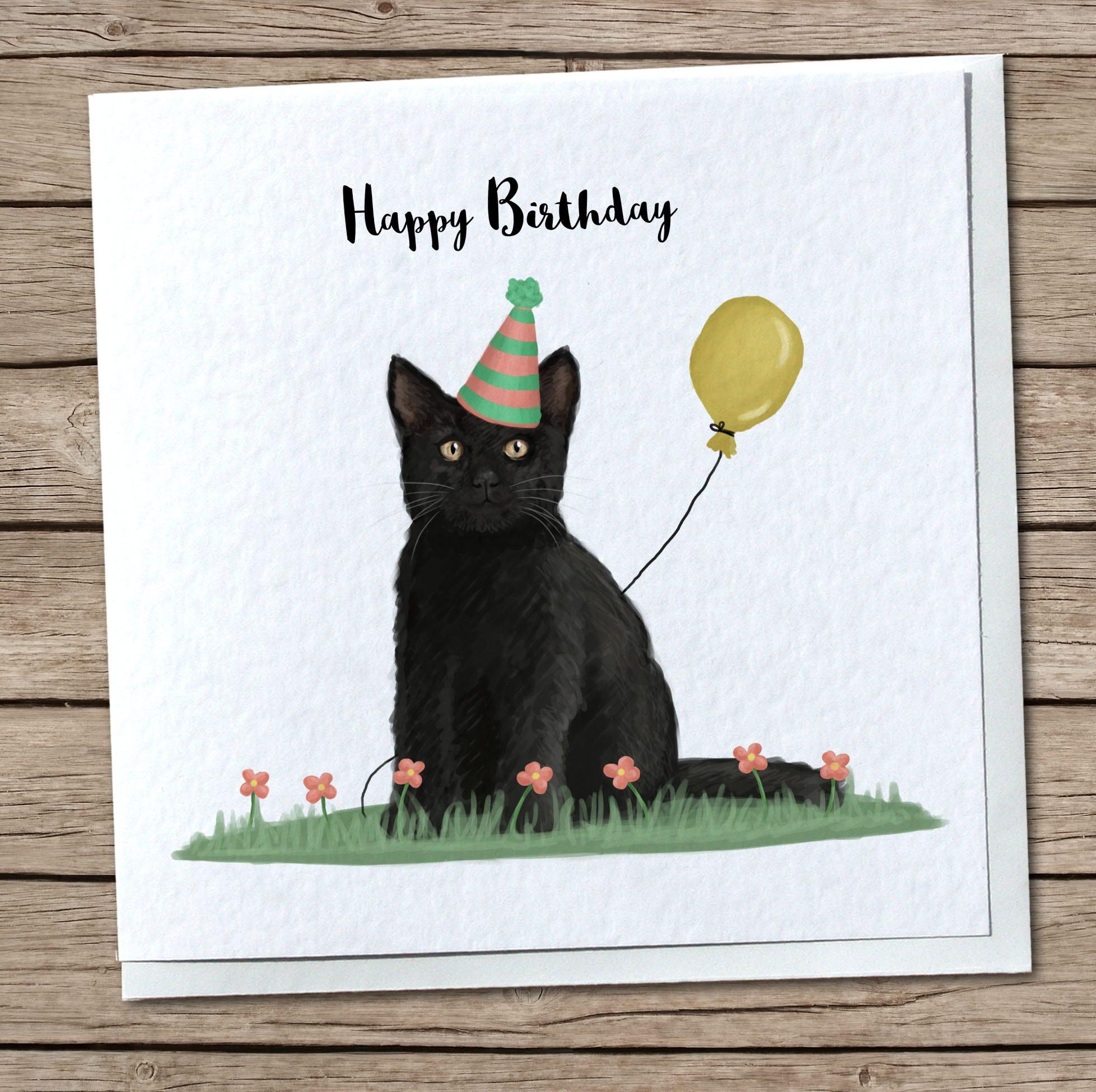 Cute Black Cat Birthday Handmade Greetings Card Card For Etsy