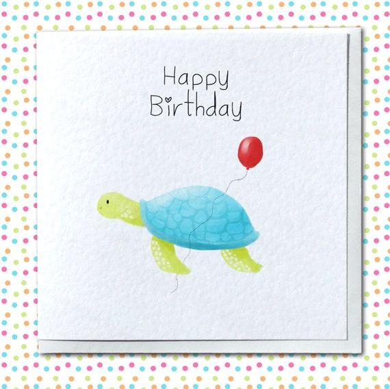 Cute Turtle Handmade Birthday Card Card For Him Her Etsy