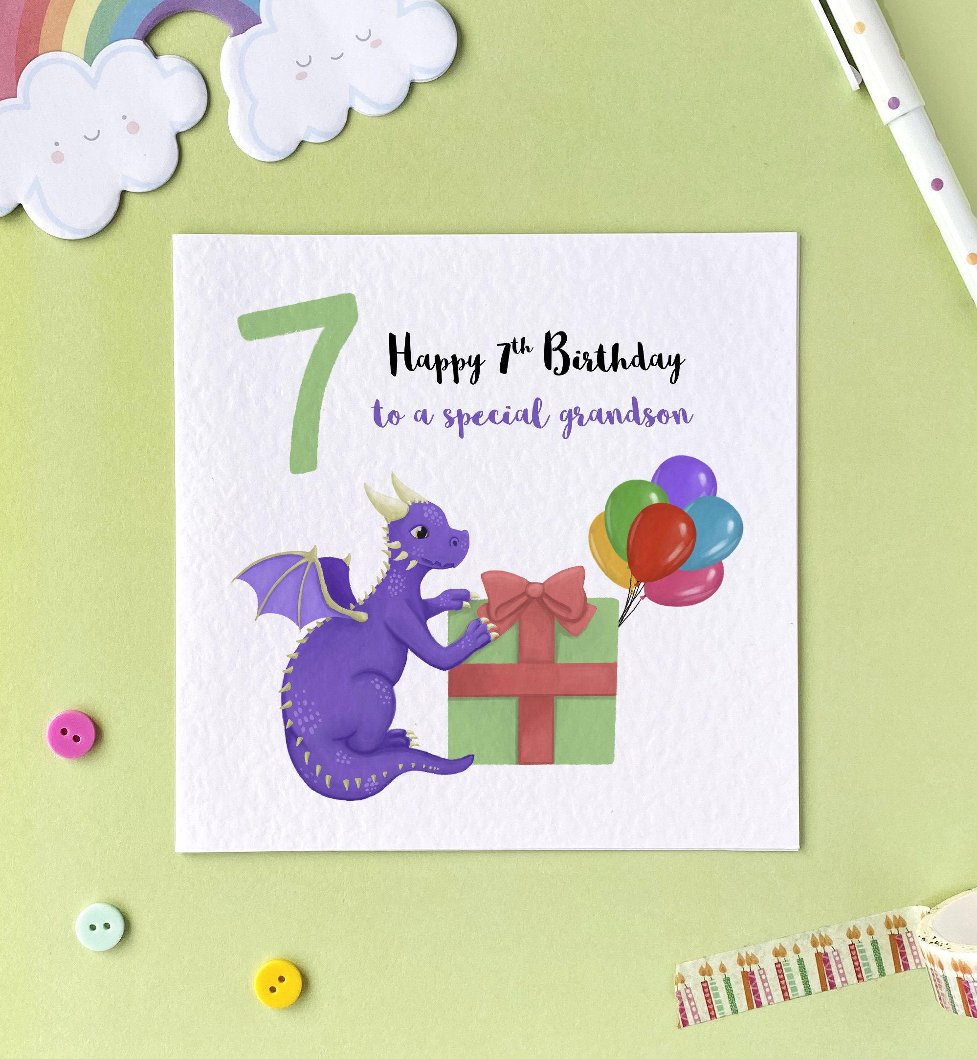 Daughter For Son Personalised Zoo 7th Birthday Card Grandson Granddaughter
