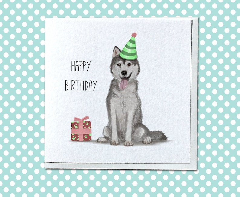 Personalised Husky Birthday Card Siberian Dog