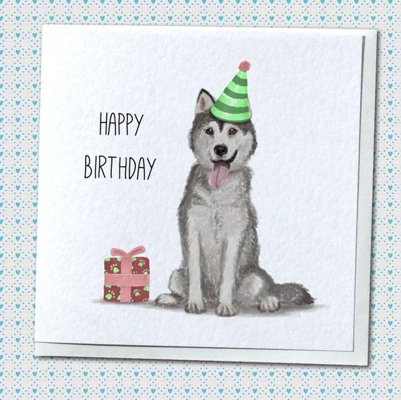 Siberian Husky Cute Handmade Greetings Card Dog Lover