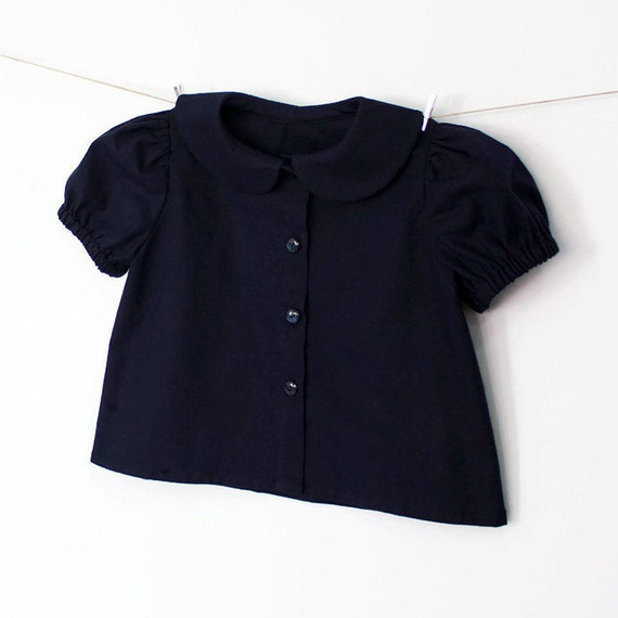 45638699839e90 Baby Girl Navy Blue Blouse Peter Pan collar Puff sleeve | Etsy