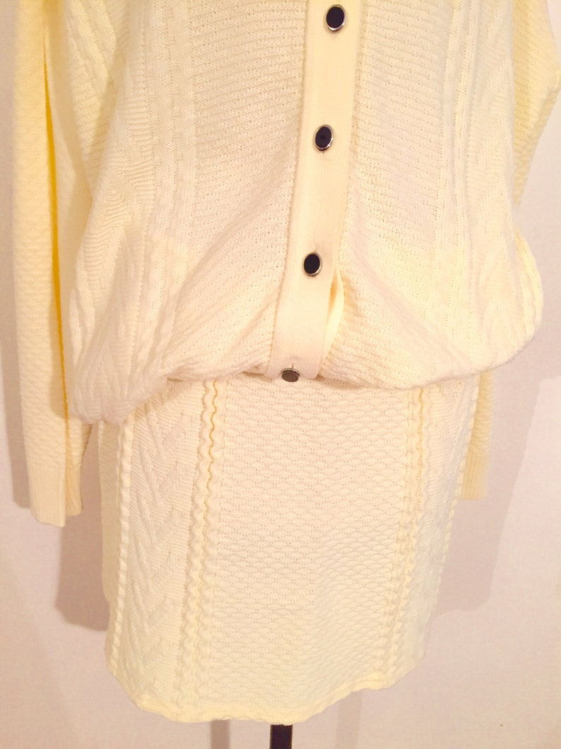 check out f6d54 05289 Twin set cardigan and skirt. Pale yellow. Mix cotton poly. Half season.