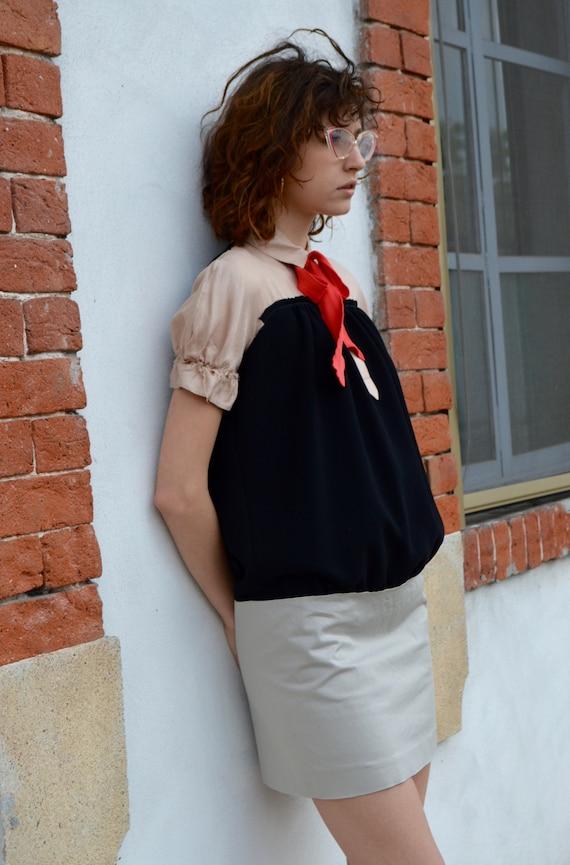 Dsquared D2 mini dress. Balloon short sleeves. Col