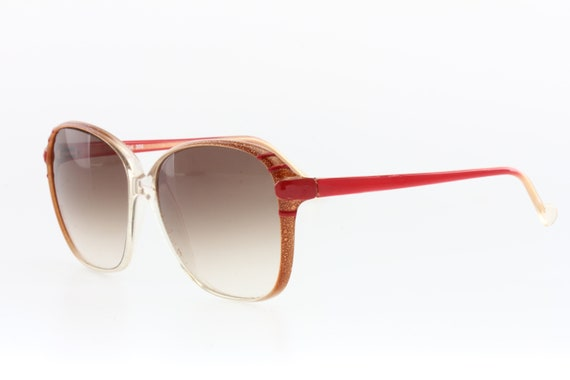 Squared oversize brown with red enamel stripes su… - image 3