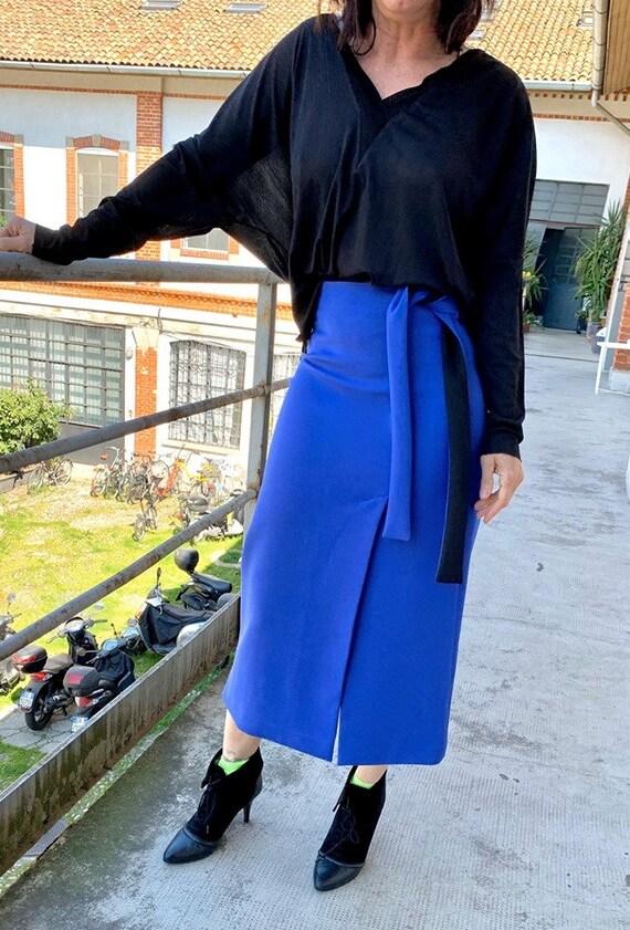 Royal blue bicolor long skirt - Pencil shape, spli