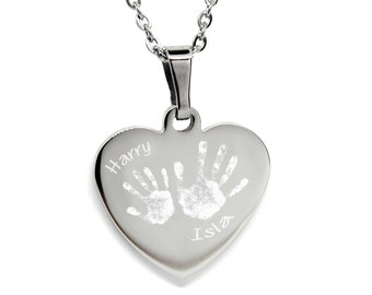 the latest b6c40 4866a Engraved Hand Print Heart Necklace / Pendant. Personalised Gift.