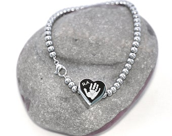 66b84b5e7 Personalised Ball Chain Charm Bracelet. Handprint / Footprint and Text  Engraved.