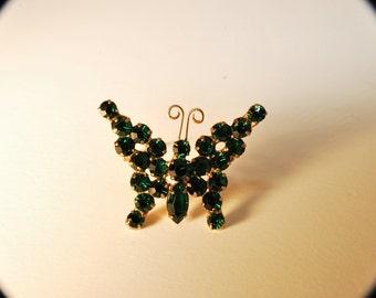 Gorgeous Dark Emerald Green Rhinestone Butterfly Pin