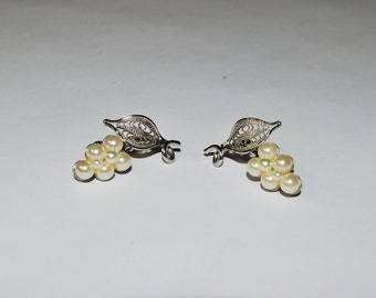 Classic Pearl Bead and Silver Filigree Earrings