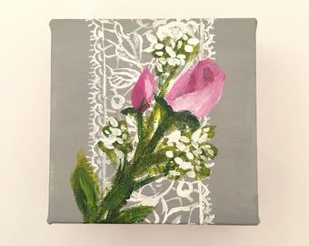 "Roses - 4"" x 4"" original painting"