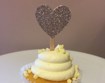 Glitter Heart Cupcake Picks 6 CT