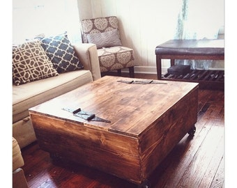 Rustic Coffee Table. Rustic Home Decor. Storage. Vintage. Living Room Decor.  Country Decor.