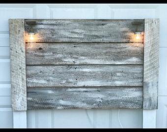Rustic Headboard With Mason Jar Lights Home Decor Barnwood Twin Queen King