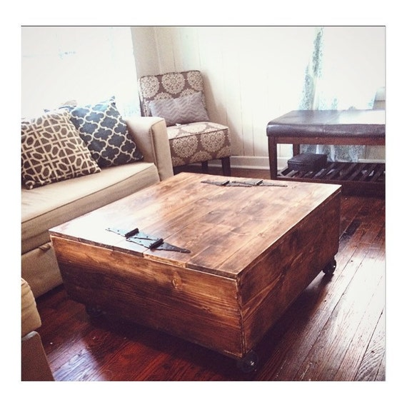 Rustic Coffee Table. Rustic Home Decor. Storage. Vintage