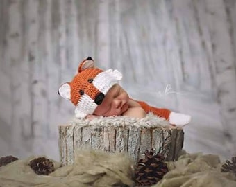 hand crocheted fox baby hat and diaper cover