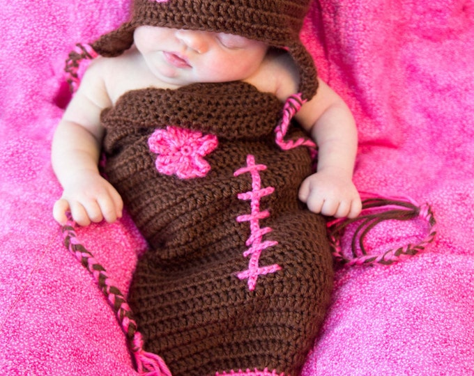 Featured listing image: newborn crochet football cocoon/cozy/photo prop