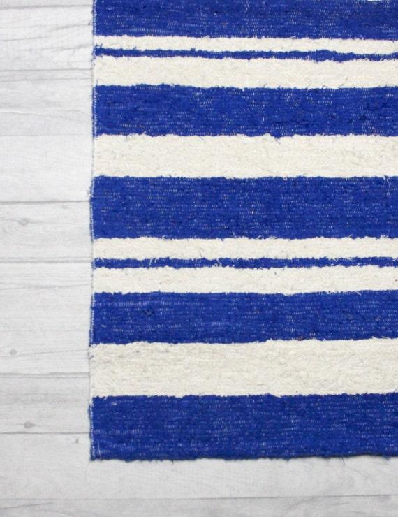 Bleu tapis tapis blanc tapis de salle de bain décoration | Etsy