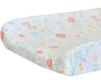 Changing Pad Cover   Mint Spring Floral