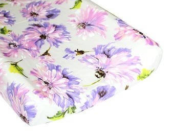 Changing Pad Cover | Purple Blossom Tallulah