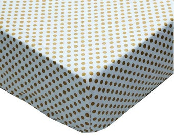 Metallic Medium Gold Dots | Fitted Crib Sheet