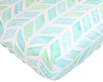 Aqua and Coral Watercolor Herringbone Baby Bedding | Fitted Crib Sheet