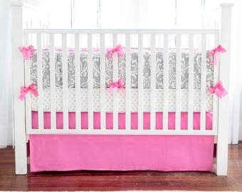 Gray & Hot Pink Damask Wisteria Baby Bedding Set
