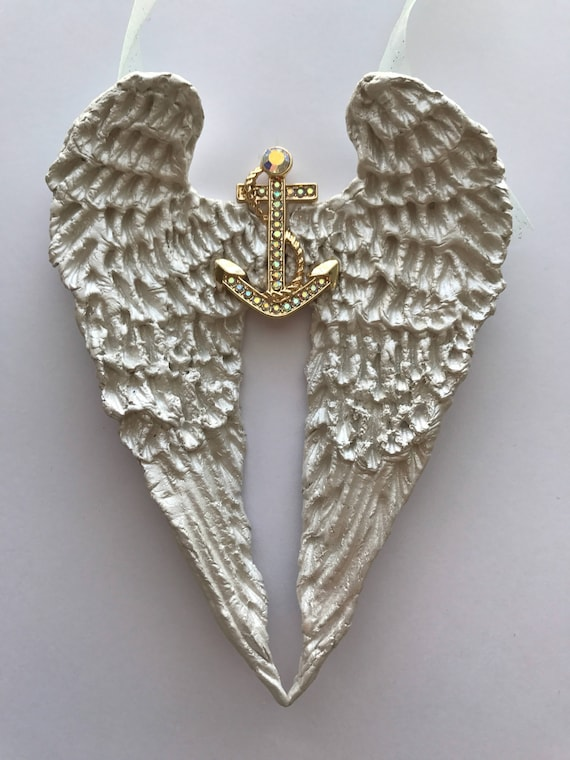 White Handmade Angel Wings Ship Anchor Wall Decor Hope Anchors The Soul Hebrews 6 19 Angel Wings With Multi Colored Rhinestone Anchor