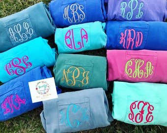 Surprise comfort color pocket tees with monogram