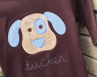 Chocolate Romper with Puppy applique- name included