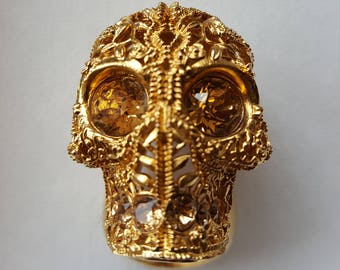 Vintage  Classic Alexander Mcqueen Skull Filigree Ring - Made in Italy - Collectible